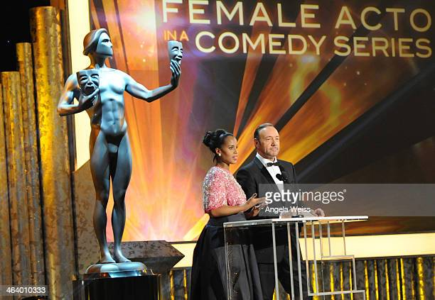 Actors Kerry Washington and Kevin Spacey attend the 20th Annual Screen Actors Guild Awards at The Shrine Auditorium on January 18, 2014 in Los...