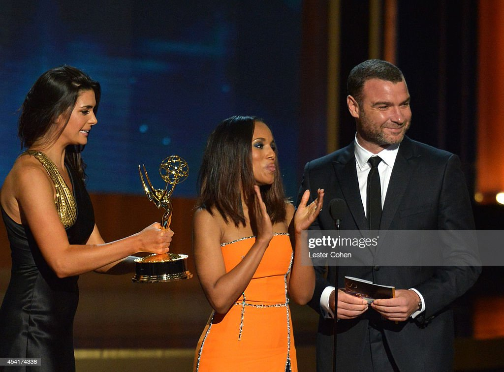 Actors Kerry Washington (C) and Liev Schreiber speak onstage at the 66th Annual Primetime Emmy Awards held at Nokia Theatre L.A. Live on August 25, 2014 in Los Angeles, California.