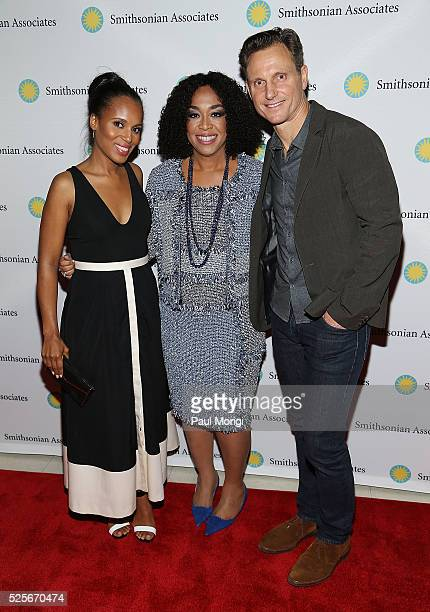 "Actors Kerry Washington and Tony Goldwyn pose for a photo with ""Scandal"" producer and writer Shonda Rhimes at the Smithsonian Associates's..."