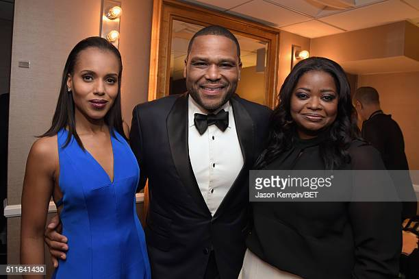 Actors Kerry Washington Anthony Anderson and Octavia Spencer pose backstage at the 2016 ABFF Awards A Celebration Of Hollywood at The Beverly Hilton...