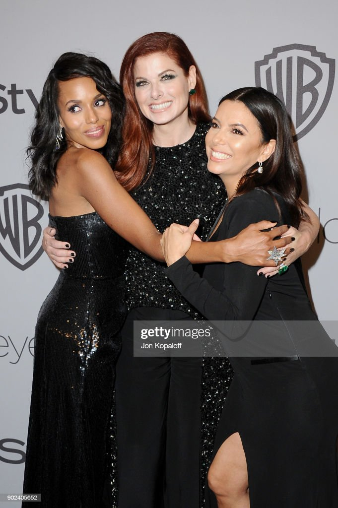 Actors Kerry Washington, Debra Messing, and Eva Longoria attend 19th Annual Post-Golden Globes Party hosted by Warner Bros. Pictures and InStyle at The Beverly Hilton Hotel on January 7, 2018 in Beverly Hills, California.