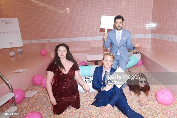 Actors Kether Donohue Chris Geere Desmin Borges and Aya Cash attend the Premiere Of FXX's 'You're The Worst' Season 4After Party on August 29 2017 in...