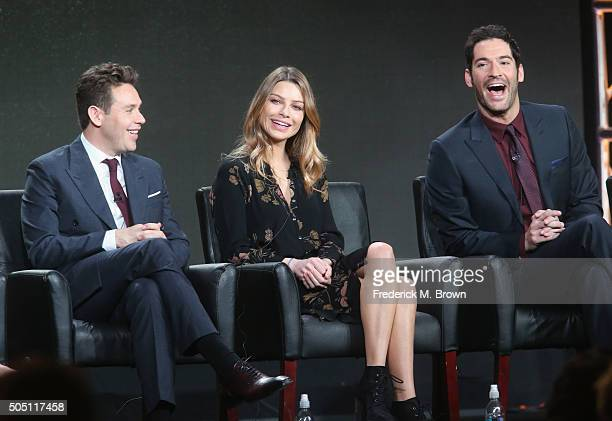 Actors Kevin Alejandro Lauren German and Tom Ellis speak onstage during the Lucifer panel discussion at the FOX portion of the 2015 Winter TCA Tour...
