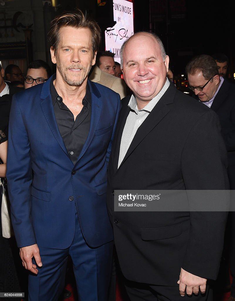 Actors Kevin Bacon (L) and James DuMont attend the premiere of 'Patriots Day' at AFI Fest 2016, presented by Audi at The Chinese Theatre on November 17, 2016 in Hollywood, California.
