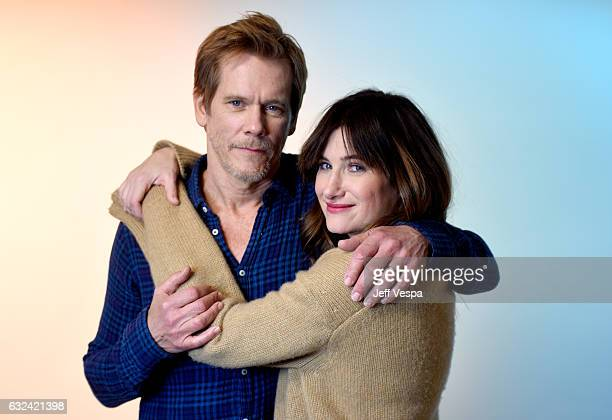 Actors Kevin Bacon and Kathryn Hahn from the series I Love Dick pose for a portrait in the WireImage Portrait Studio presented by DIRECTV during the...