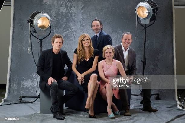 Actors Kevin Bacon Connie Britton Andrew Lincoln Elisabeth Moss and Bryan Cranston are photographed for Los Angeles Times on April 30 2013 in Los...