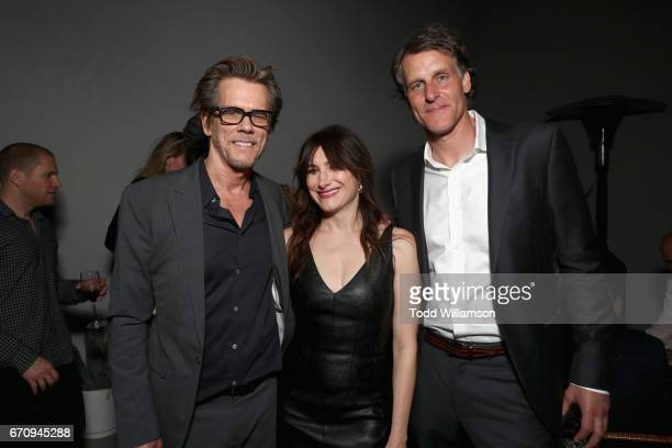 Actors Kevin Bacon Kathryn Hahn and Amazon's SVP of Business Development Jeff Blackburn attend the red carpet premiere of Amazon's forthcoming series...