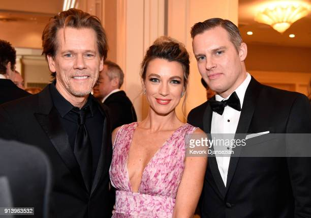 Actors Kevin Bacon Natalie Zea and Travis Schuldt attend the 70th Annual Directors Guild Of America Awards at The Beverly Hilton Hotel on February 3...