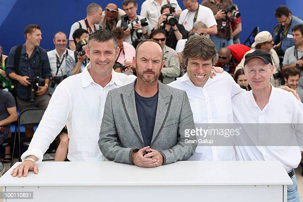 Actors Kevin Bishop Mark Womack and Jack Fortune with screenwriter Paul Laverty attend the 'Route Irish' Photocall at the Palais des Festivals during...
