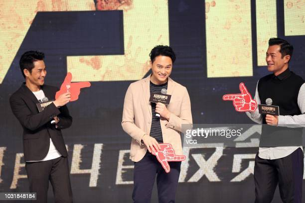 Actors Kevin Cheng Kawing Julian Cheung Chilam and Louis Koo Tinlok attend the premiere of director David Lam Takluk's film 'L Storm' on September 5...