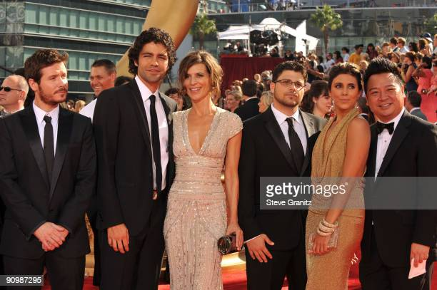 Actors Kevin Connolly, Adrian Grenier, Perrey Reeves, Jerry Ferrara, Jamie-Lynn Sigler and Rex Lee arrive at the 61st Primetime Emmy Awards held at...