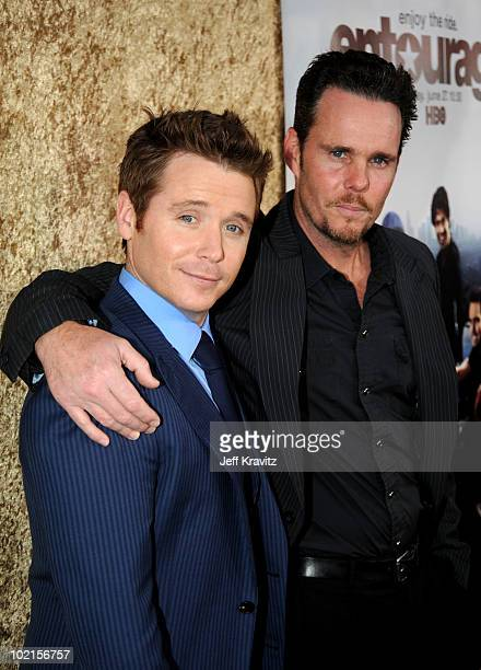 Actors Kevin Connolly and Kevin Dillon arrive at HBO's Entourage Season 7 premiere held at Paramount Theater on the Paramount Studios lot on June 16...