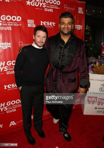 Actors Kevin Connolly and Sunkrish Bala attend the Such Good Guys Production Holiday event and Toy Drive Benefiting Toys For Tots at The Den On...