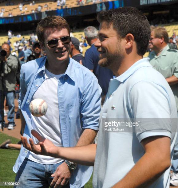 Actors Kevin Connolly Jerry Ferrara at Dodger Stadium on June 26 2010 in Los Angeles California