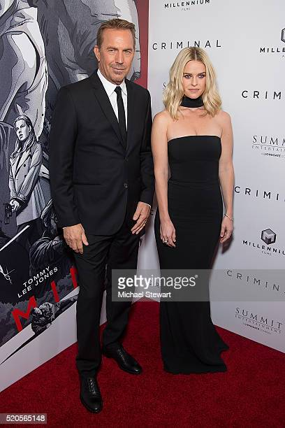 Actors Kevin Costner and Alice Eve attend the Criminal New York Ppemiere at AMC Loews Lincoln Square 13 theater on April 11 2016 in New York City