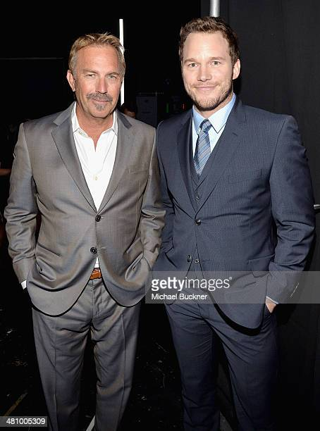 Actors Kevin Costner and Chris Pratt attend The CinemaCon Big Screen Achievement Awards brought to you by The CocaCola Company during CinemaCon the...