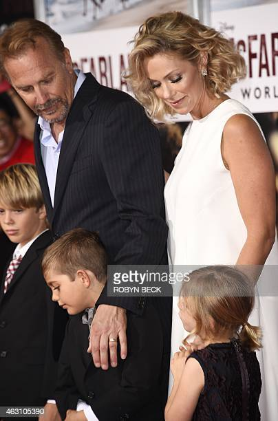 Actors Kevin Costner and Christine Baumgartner and their children Hayes Logan Costner Cayden Wyatt Costner and Grace Avery Costner attend the world...