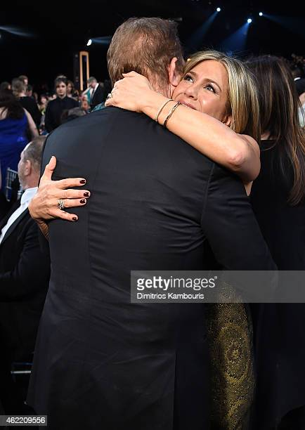 Actors Kevin Costner and Jennifer Aniston in the audience at TNT's 21st Annual Screen Actors Guild Awards at The Shrine Auditorium on January 25 2015...