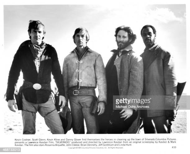 "Actors Kevin Costner, Scott Glenn, Kevin Kline and Danny Glover on set the movie ""Silverado"" circa 1985."
