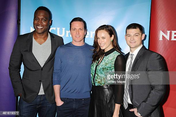 Actors Kevin Daniels Michael Mosley Jessica McNamee and Kevin Bigley attend the NBCUniversal 2015 Press Tour at the Langham Huntington Hotel on...
