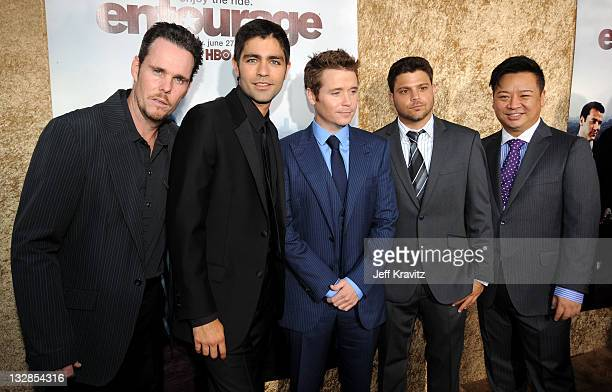 """Actors Kevin Dillon, Adrian Grenier, Kevin Connolly, Jerry Ferrara and Rex Lee arrive at HBO's """"Entourage"""" Season 7 premiere held at Paramount..."""