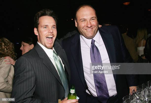 """Actors Kevin Dillon and James Gandolfini attend the after party following the premiere screening of the second season of HBO's """"Entourage"""" at Lincoln..."""