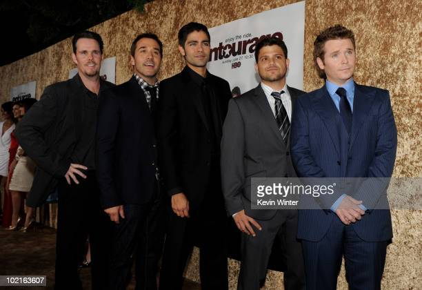 Actors Kevin Dillon Jeremy Piven Adrian Grenier Jerry Ferrara and Kevin Connolly arrive at the premiere of HBO's Entourage season 7 at Paramount...
