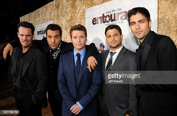 Actors Kevin Dillon Jeremy Piven Kevin Connolly Jerry Ferrara and Adrian Grenier arrive at HBO's Entourage Season 7 premiere held at Paramount...