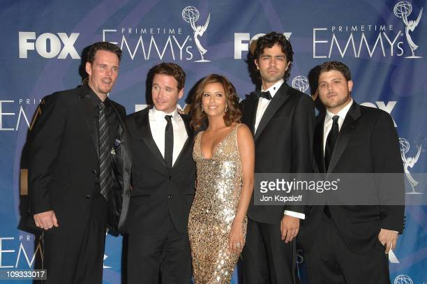 Actors Kevin Dillon Kevin Connolly Eva Longoria Adrian Grenier and Jerry Ferrara in the press room at the 59th Primetime EMMY Awards at The Shrine...