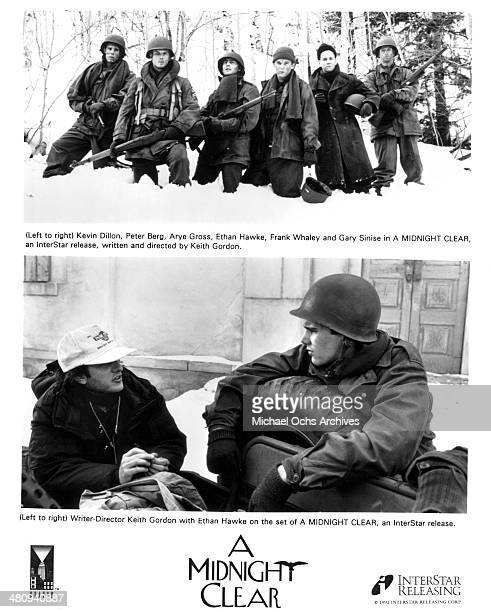 Actors Kevin Dillon Peter Berg Arye Gross Ethan Hawke Frank Whaley and Gary Sinise on set writer/director Keith Gordon and actor Ethan Hawke on the...