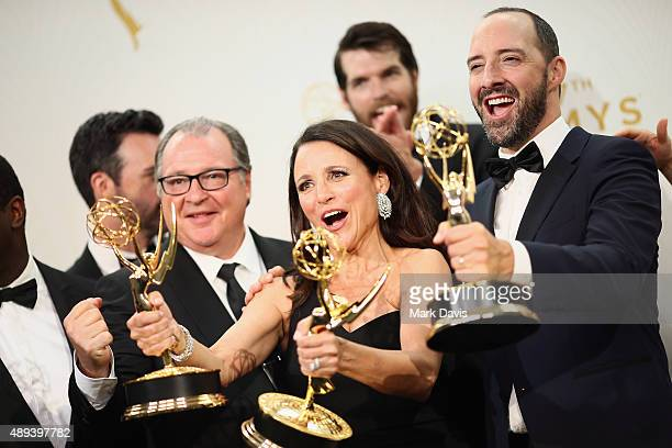Actors Kevin Dunn Julia LouisDreyfus and Tony Hale winners of the award for Outstanding Comedy Series for 'Veep' pose in the press room at the 67th...