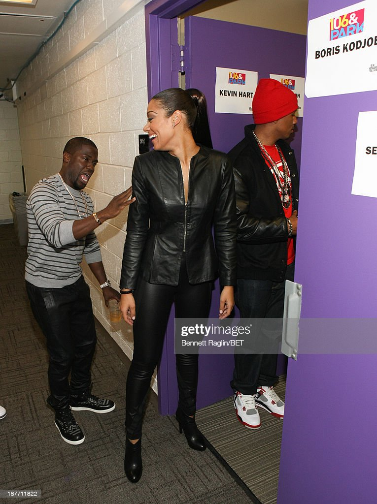 Actors Kevin Hart and Cynthia Kaye McWilliams visit 106 & Park at 106 & Park studio on November 11, 2013 in New York City.