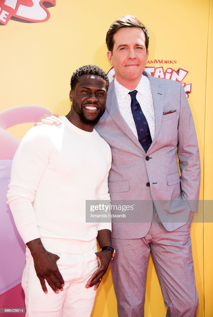 Actors Kevin Hart (L) and Ed Helms arrive at the premiere of 20th Century Fox's 'Captain Underpants: The First Epic Movie' at the Regency Village Theatre on May 21, 2017 in Westwood, California.