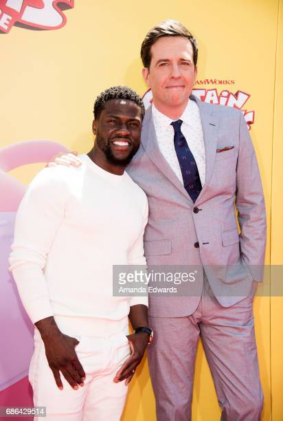 Actors Kevin Hart and Ed Helms arrive at the premiere of 20th Century Fox's 'Captain Underpants The First Epic Movie' at the Regency Village Theatre...