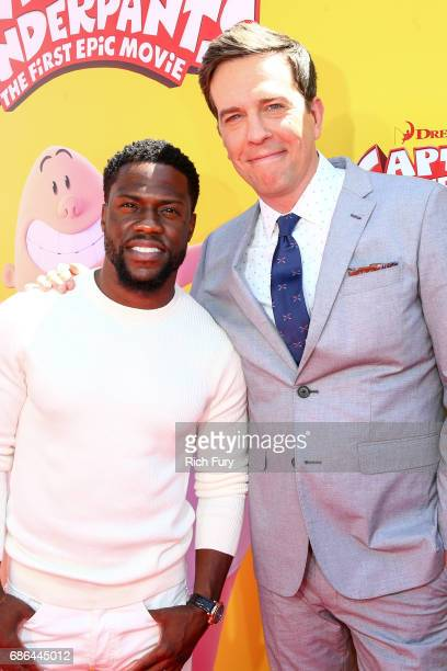 Actors Kevin Hart and Ed Helms attend the premiere of 20th Century Fox's 'Captain Underpants The First Epic Movie' at Regency Village Theatre on May...