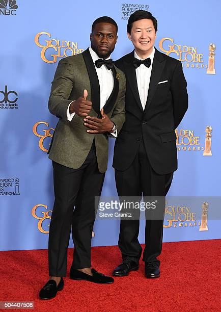 Actors Kevin Hart and Ken Jeong pose in the press room during the 73rd Annual Golden Globe Awards held at the Beverly Hilton Hotel on January 10 2016...