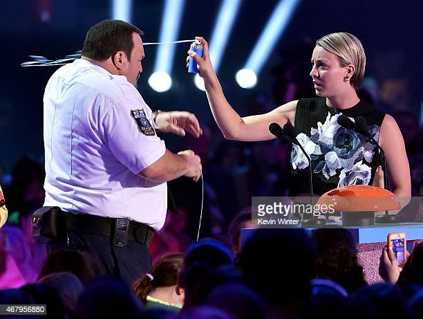 Actors Kevin James and Kaley Cuoco speak onstage during Nickelodeon's 28th Annual Kids' Choice Awards held at The Forum on March 28 2015 in Inglewood...