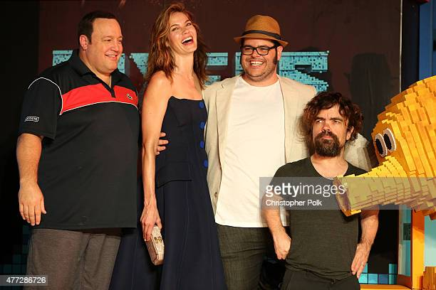 """Actors Kevin James, Michelle Monaghan, Josh Gad, and Peter Dinklage attend the """"Pixels"""" photo call during Summer Of Sony Pictures Entertainment 2015..."""