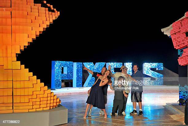 """Actors Kevin James, Michelle Monaghan, Josh Gad, Peter Dinklage, and Adam Sandler attend the """"Pixels"""" photo call during Summer Of Sony Pictures..."""