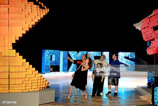 Actors Kevin James Michelle Monaghan Josh Gad Peter Dinklage and Adam Sandler attend the 'Pixels' photo call during Summer Of Sony Pictures...