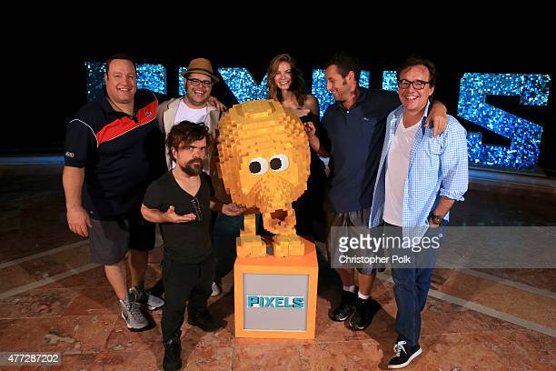 Actors Kevin James Peter Dinklage Josh Gad Michelle Monaghan Adam Sandler and director Chris Columbus attend the 'Pixels' photo call during Summer Of...