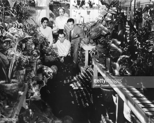 Actors Kevin McCarthy, Dana Wynter, King Donovan and Carolyn Jones find something sinister in the greenhouse in a scene from the science fiction film...