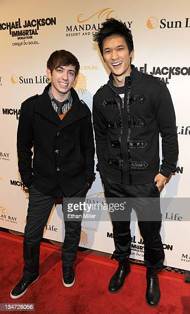 Actors Kevin McHale and Harry Shum Jr arrive at the Las Vegas premiere of Michael Jackson THE IMMORTAL World Tour by Cirque du Soleil at the Mandalay...