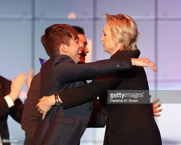 """Actors Kevin McHale, Harry Shum Jr., and Jane Lynch onstage at """"TrevorLIVE LA"""" honoring Jane Lynch and Toyota for the Trevor Project at Hollywood..."""