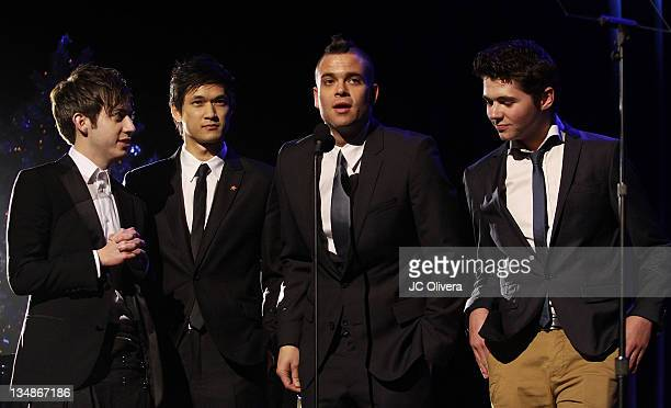 Actors Kevin McHale, Harry Shum Jr., Mark Salling and Damian McGinty on stage during 'Trevor Live at The Hollywood Palladium' held at the Hollywood...