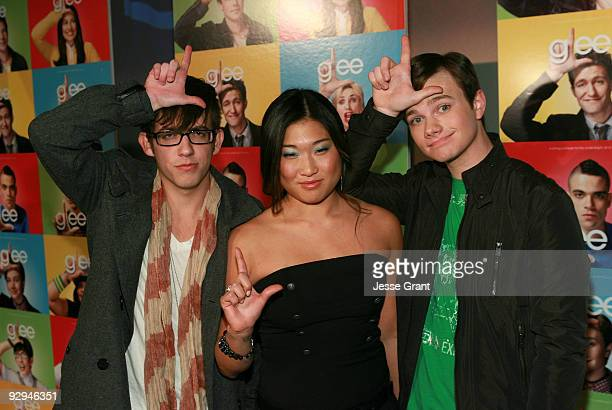 Actors Kevin McHale Jenna Ushkowitz and Chris Colfer attend an advanced screening of the 11th episode of Glee titled Wheels at ArcLight Cinemas on...