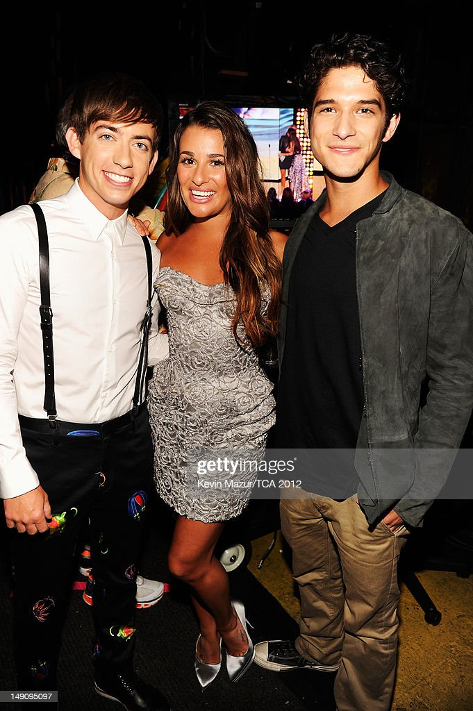 Actors Kevin McHale, Lea Michele and Tyler Posey attend the 2012 Teen Choice Awards at Gibson Amphitheatre on July 22, 2012 in Universal City, California.