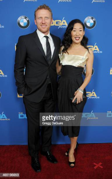 Actors Kevin McKidd and Sandra Oh arrive at the 66th Annual Directors Guild Of America Awards at the Hyatt Regency Century Plaza on January 25 2014...