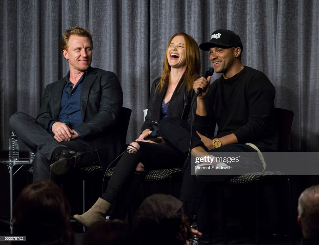 Actors Kevin McKidd, Sarah Drew and Jesse Williams attend SAG-AFTRA Foundation's Conversations with 'Grey's Anatomy' at SAG-AFTRA Foundation Screening Room on March 13, 2017 in Los Angeles, California.