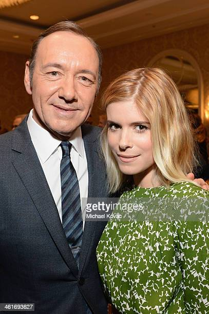 Actors Kevin Spacey and Kate Mara attend the 14th annual AFI Awards Luncheon at the Four Seasons Hotel Beverly Hills on January 10 2014 in Beverly...